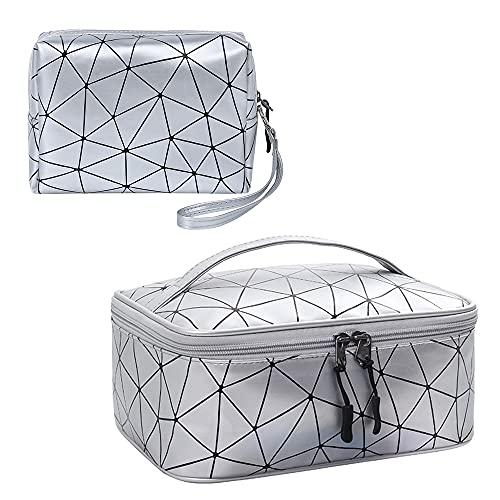 LELE LIFE 2 bolsas de maquillaje, bolsas de cosméticos grandes impermeables para cosméticos, bolsas de maquillaje de viaje de enrejado geométrico de moda