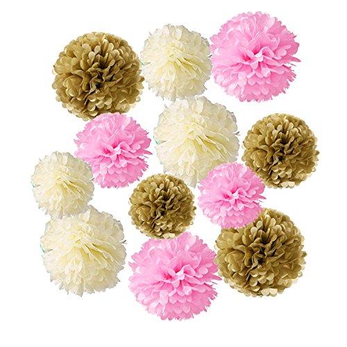 Wartoon Papel Pom Poms Flores Tissue para Decoración de Boda, Fiesta Cumpleaños, Bienvenida al...