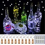 YOEEN 10 Pack 20 LED Wine Bottle Lights with Cork, 3.3ft Silver Wire Cork Lights Battery Operated Fairy Mini String Lights for Liquor Bottles Party Wedding Christmas Bar Decorations, Cool White