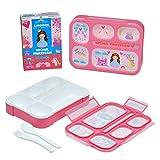 Bananabridge Kinder Lunchbox Krümel Prinzessin mit 5 Fächern Brotdose robust BPA frei Frühstücksbox Bentobox Rosa Pink Freizeit Picknick