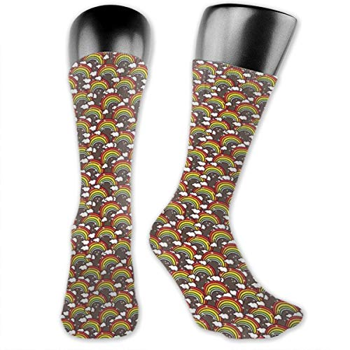 Papalikz Compression Medium Calf Socks,Colorful Rainbows And Clouds Accompanied By Stars And Little Dots Magic Sky Theme