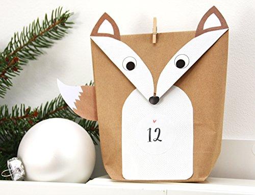 DIY Adventskalender Fuchs Set WEISS 24 Geschenktüten für Männer zum ausschneiden basteln befüllen