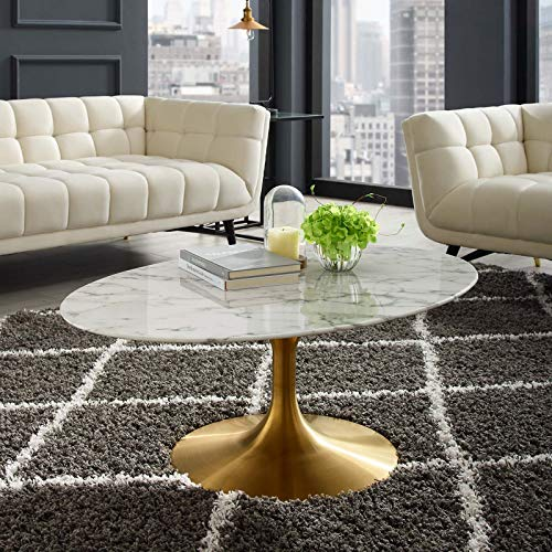 Modway Lippa Mid-Century Modern 42' Oval Artificial Marble Coffee Table in Gold White