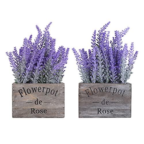 Artificial Lavender Plants in Wood Box Pot 2 Pack – Lifelike Faux Silk Flower Arrangement – Wedding Table Plant Centerpiece Home Decor