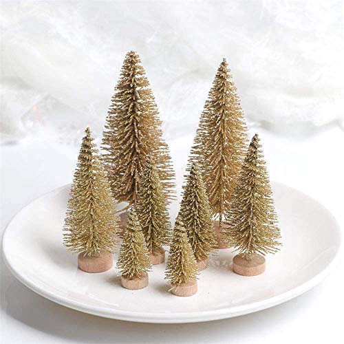 ROOYA Christmas Desktop Trees Sisal Trees with Wood Base Mini Christmas Tree Great for Christmas Crafting Home Party Decoration