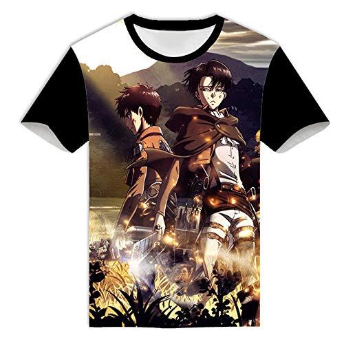 Camisetas Attack on Titan Hombre Camiseta Anime Tops de Verano de Manga Corta Remera de AlgodónT-Shirt Camisas