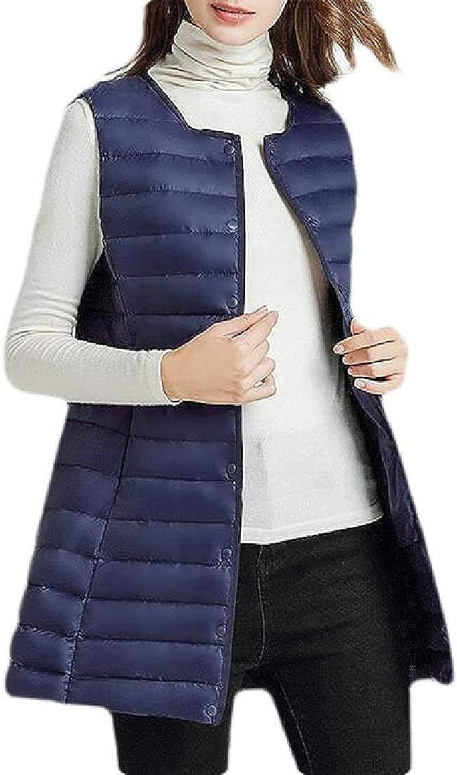 Women's Lightweight Buttons Puffer Slim Stylish Sleeveless Down Vest Jacket