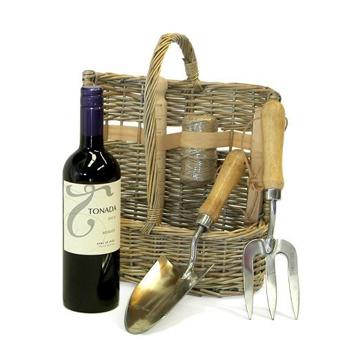 Fine Food Store Deluxe Wicker Garden Tool Basket Set & Tonada Merlot Red Wine 750ml - Gift Ideas for Valentines, Father's Day, Birthday, Wedding, Anniversary, Business and Corporate, Christmas