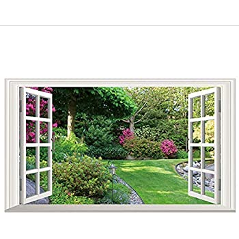 Flores Verdes Jardín Paisaje 3D Ventana Falsa Vinilo Pegatinas De Pared Dormitorio Sala De Estar Decoración Paisaje Papel Pintado Grande: Amazon.es: Bricolaje y herramientas