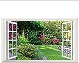 Flores Verdes Jardín Paisaje 3D Ventana Falsa Vinilo Pegatinas De Pared Dormitorio Sala De Estar...