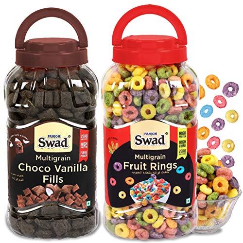 Swad Fruit Rings Choco Vanilla Fills Combo Of 2 Jars (Multigrain Chocos Fruit Loops Breakfast Childrenn Cereals) Jar 650 G