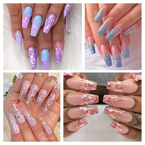 NICOLE DIARY 8 Boxes Mermaid Nail Glitter Semi-transparent Thin Sugar Sequins Colorful Slight Paillette Mermaid Flakes Nail Art Decoration