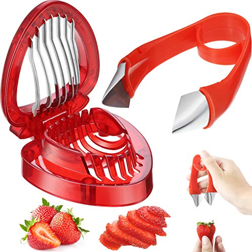 2 Pieces Strawberry Slicer Cutter Set Strawberry Huller Stem Remover Fruit Leaves Huller Peeling Tool Kitchen Accessories Corer for Strawberry Tomato Pineapple
