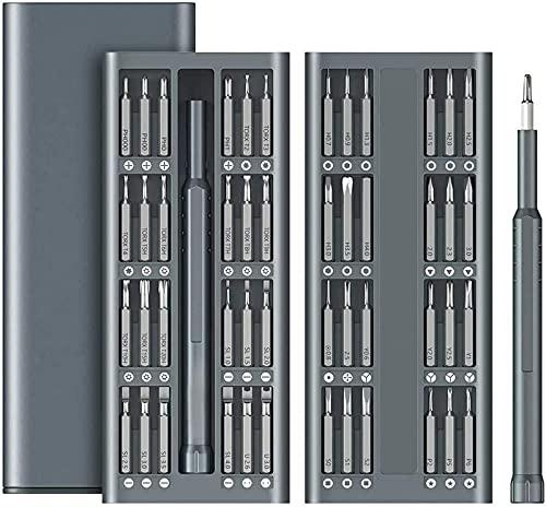 LCJD Juego de Destornilladores de precisión, Juego de Herramientas de reparación de componentes electrónicos 49 en 1, Mango de Aluminio, Broca de Acero para Herramientas S2, Juego de Herramientas