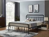 Wreifeed Metal Bed Frame Queen Size, Platform with Vintage Headboard and Footboard, No Box Spring Needed, Premium Stable Steel Slat Support Mattress Foundation, Easy Assembly, Grey Black