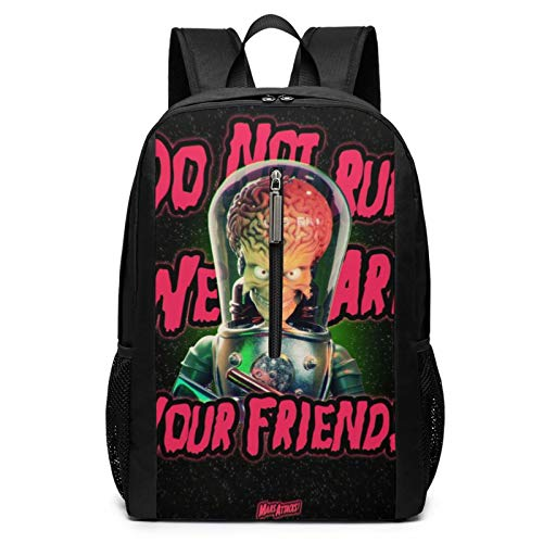 Mars Attacks Laptop Backpacks for Women Men 17 Inch Large Travel Cool College Black Schoolbag