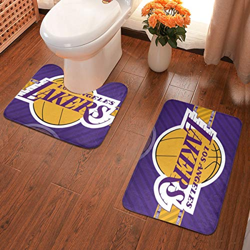 Dopy Los Angeles Bathroom Rugs Basketball Fans Set 2 Piece Antiskid Pad+Water Absorption Contour