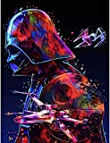 DIY 5D Diamond Painting Kits, Round Full Drill Diamond Paintings Arts Craft for Relaxation and Home Wall Decor (02 Star Wars Darth Vader 13.7'x17.7')