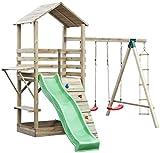 Spielturm 17B inkl. Wellenrutsche, Kletterwand, Doppelschaukel-Anbau und Strickleiter - Abmessungen:...
