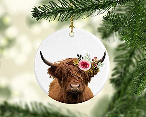 None-Brands 2020 Christmas Tree Decor Highland Cow Ornament Scottish Cow Highland Cow Christmas Ornament