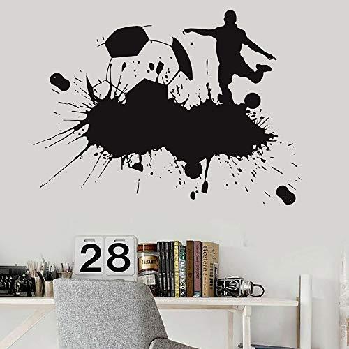 HGFDHG Jugar fútbol Tatuajes de Pared fútbol fanáticos de los Deportes niños niños Dormitorio decoración del hogar Vinilo Pegatinas de Pared Salpicaduras de Tinta Arte murales