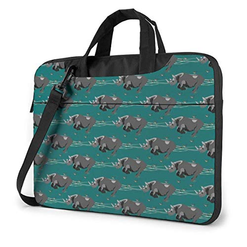 Black Rhino African Animal Laptop Shoulder Bag 15.6 Inch Laptop Messenger Case Laptop Sleeve Carrying Case with Strap
