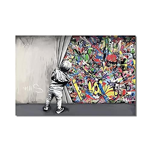 Arte de la pared Niños detrás de la cortina Graffiti Art Canvas Painitngs en la pared Posters e impresiones Cuadros modernos de la calle para la Decor del hogar 30x45cm Sin marco