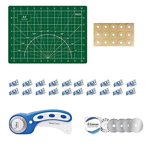 【Conjunto completo】 El conjunto de cortador giratorio para telas incluye cortadores giratorios de 45 mm y 45 mm, lo que le permite cortar diferentes líneas, cada una con 5 cuchillas de reemplazo, regl