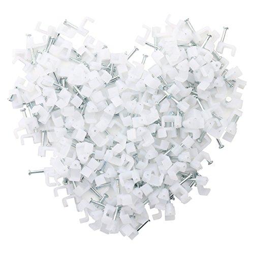 homiki–Lote de 100Cable eléctrico Cable plana plástico blanco fijaciones Clips Cable blanco...