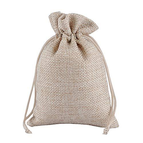 Jihuoo 10 sacchetti di iuta con coulisse per regali, sacchetti di iuta per matrimoni, 20 x 30 cm