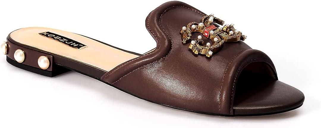 jingyibest Fashion Dress Shoes Women Flat Slides Luxury Sandals Mature Party Black Buckle Slippers Slip on