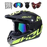 Yilingqi-1 Juveniles Casco de Descenso Regalos Gafas máscara Guantes de Bolsillo de Red BMX MTB ATV Carrera de Bicicleta de Toda la Cara Casco Integral,A,L