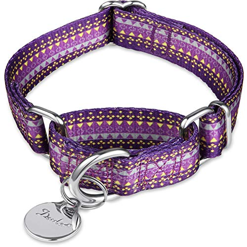 Dazzber Martingale Collar Dog Collar No Pull Pet Collar Heavy Duty Dog Martingale Collars Silky Soft with Unique Pattern for Medium and Large Dogs (Large, 1 Inch Wide, Dark Purple & Yellow)