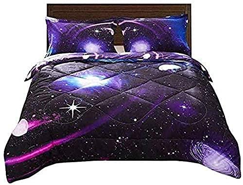 Funda De Edredón Matrimonio Juego Ropa Cama 3D Purple Blue Space Edredón Twin Universe Para Niños, Edredón Estrellado Con Funda Almohada, Súper Suave Para Niña Y Niño, 1 Edredón Y 2 Fundas Almohada