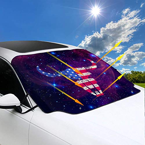 QBahoe American Warrior Buffalo National Flag Car Windshield Snow Cover Sunshades for Windshield Sun Shade Protector Ice Protection Frost Guard Windshield Cover Summer Winter
