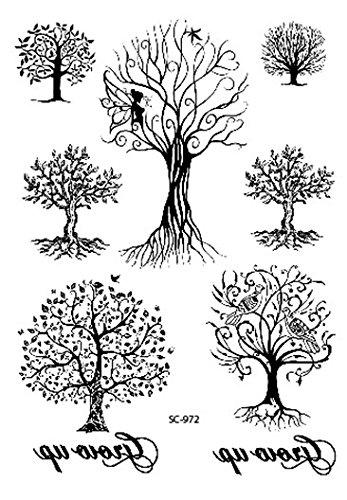 Baum Tattoos schwarz Klebe-Tattoos SC972 7 Baüme auf ein Blatt