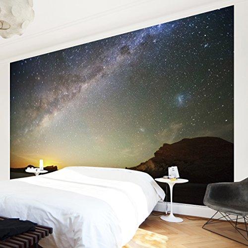 Apalis Vliestapete Sternenhimmel über dem Meer Fototapete Breit   Vlies Tapete Wandtapete Wandbild Foto 3D Fototapete für Schlafzimmer Wohnzimmer Küche   schwarz, 95018