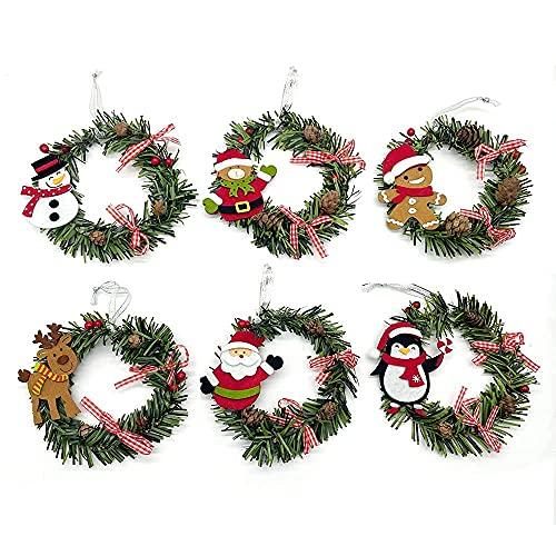 HAOJON Corona de Navidad Artificial preiluminada de Navidad, decoración de Corona de Puerta de Navidad con Papá Noel, Bayas Rojas flocadas, Cono de Pino, para Puerta de Entrada, decoración del hoga