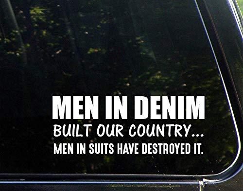 Grappige stickers voor motorfietsen mannen in Denim gebouwd ons land mannen in pakken vernietigd het raam auto Laptop Stickers voor volwassenen 23 cm