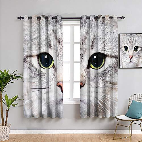 Pcglvie Cortinas de oscurecimiento de la habitación de gato para dormitorio, cortinas de 99 cm de largo digital lindo gato encantador protección de privacidad de 54 x 39 pulgadas de ancho