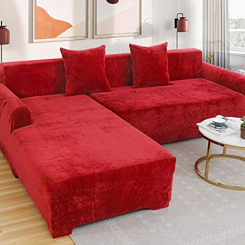 Velvet Plush Couch Cover, 1 Pcs Stretch Sofa Cover Slipcover Soft Thick Sofa Protector For L-shape Sectional Couch,1 2 3 4 Seater -red