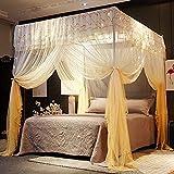 4 Cartel de la Esquina Princesa Cama Cortina Cortina Costopías para Niñas Niños Adultos Bed Regalo Dormitorio Decoración Accesorios (Queen, Gold) 2.0 * 2.2m