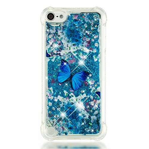 Leton Coque ipod Touch 6 Liquide Paillette Silicone Transparente Protection Housse ipod Touch 5 Bling Case Étui Glitter Sparkle Strass Brillant Quicksands Bumper Papillon Bleu Motif Cover