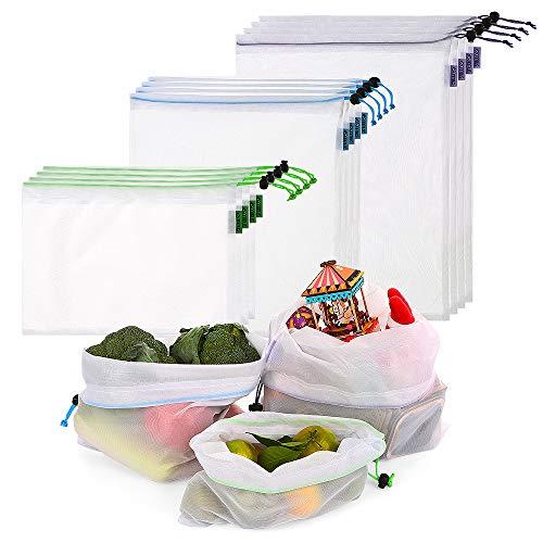 esonmus Bolsas de la Compra Reutilizables 12PCS Bolsas Reutilizables de Productos de Malla Bolsas De Compras para Juguetes De Verduras De Frutas Lavable