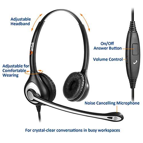 Wantek Headset Handy Binaural mit Noise Cancelling Mikrofon, Smartphone Kopfhörer für iPhone Samsung Huawei HTC LG ZTE BlackBerry Android Mobiltelefon mit 3,5mm Klinkenstecker(F602J35)