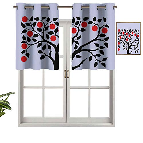 Hiiiman Short Straight Drape Valance Black Tree with Ripe Red Nutritious Fruit Flourishing Nature Garden Forest Art, Set of 1, 54'x18' for Windows Kitchen