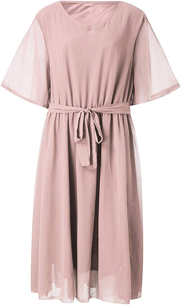 ThsiJJ Womens Plus Size Chiffon Elegant Flared Short Sleeve Belted Cocktail Party Swing Midi Dress Party Dress