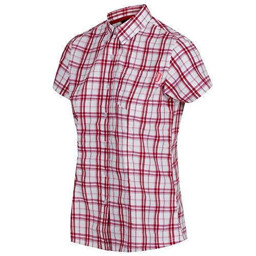 Regatta Damen Hemd Mindano IV Quick Drying Short Sleeve Check, rosa(Dunkle Kirsche), 36 EU