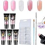 XiyingKit de uñas de gel de poligel incluye 5 colores de secado rápido para constructor de uñas de gel de uñas modelo y rascador de uñas Kit de manicura para mejorar las uñas, , ,  Nude pink,, ]