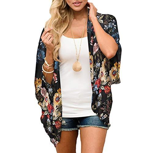 JORYEE Damen Florale Kimono Cardigan - Tops Cardigan Chiffon Shawl Bluse Sommer Boho Strand Cover up Leichte Jacke Oberteil (Blumen-schwarz, S)